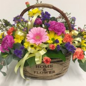 Home and Flower Basket Arrangement